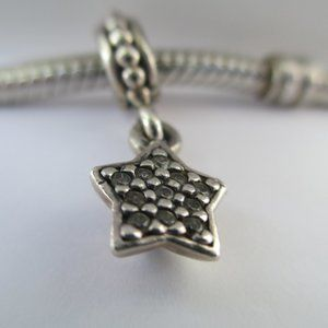 Authentic Pandora Sterling Silver Dangle Star Pave